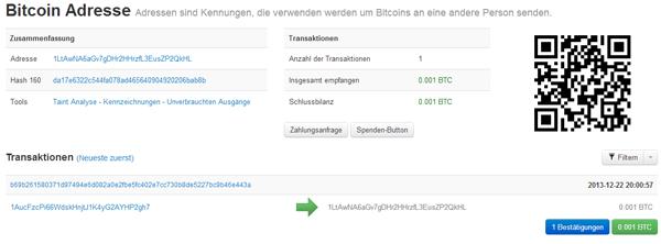 Guthaben Info auf Blockchain.info