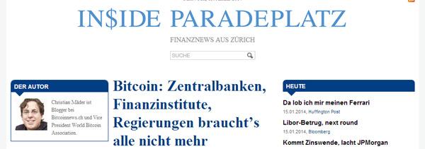 Bitcoin auf Inside Paradeplatz
