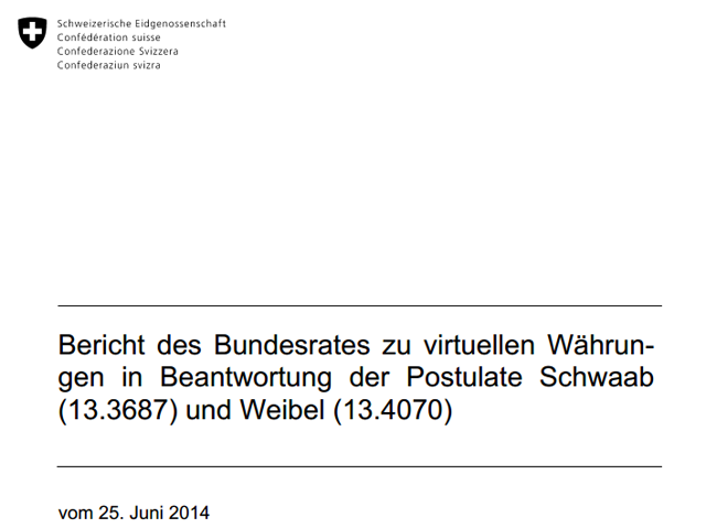 Bundesrat Bericht Bitcoin