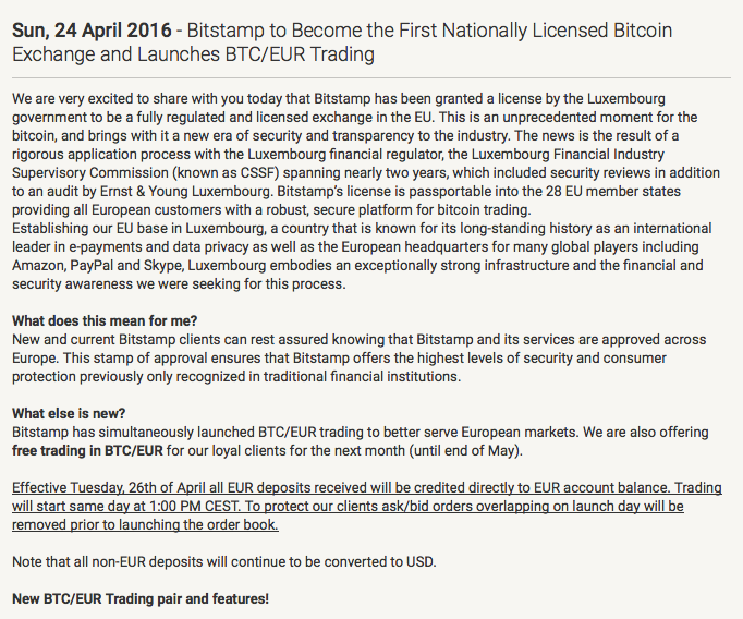 NEWS FROM BITSTAMP