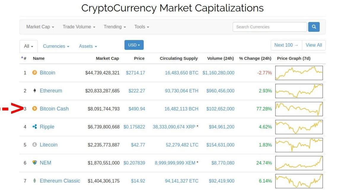 Bitcoin Cash: Market Capitalisation