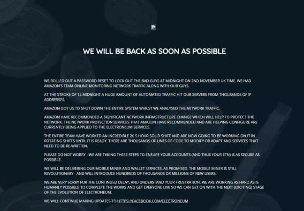 Electroneum Webseite nach dem Hack