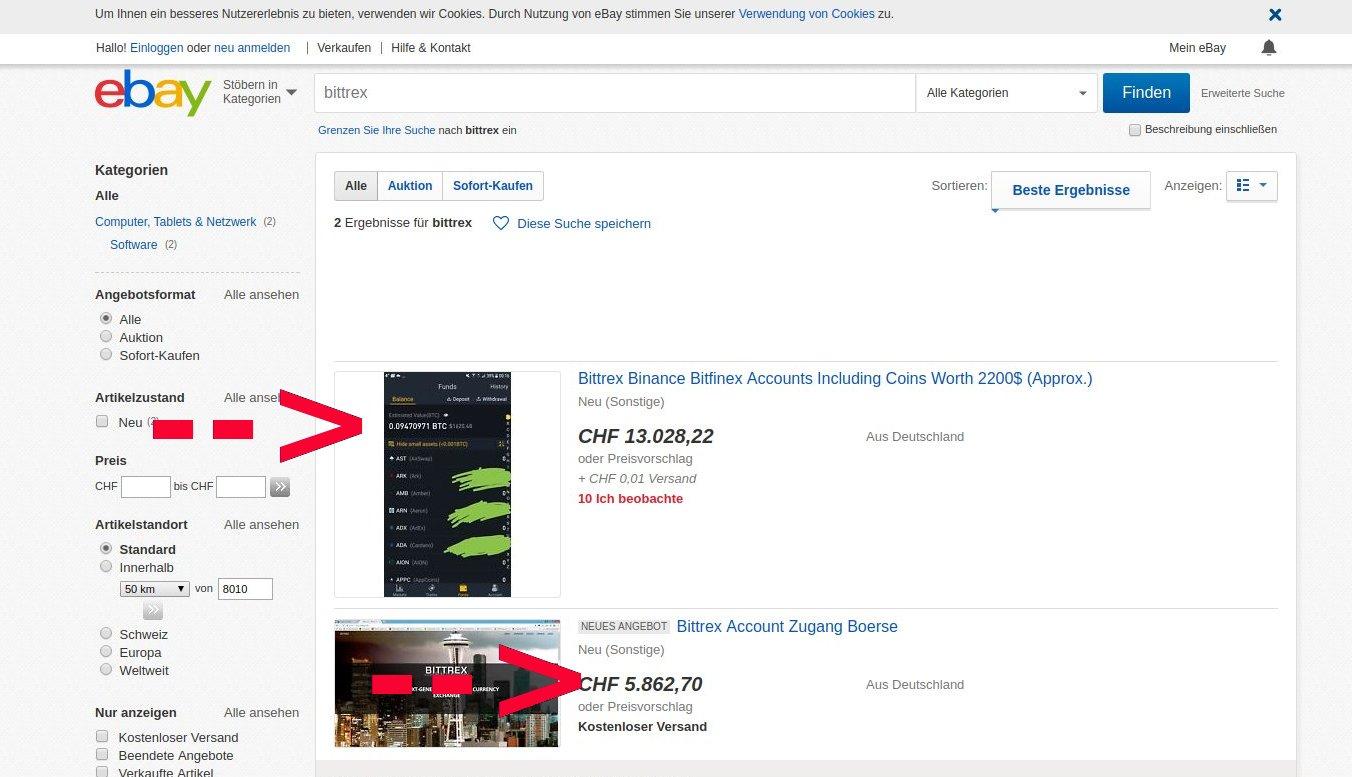 Bittrex Account Ebay