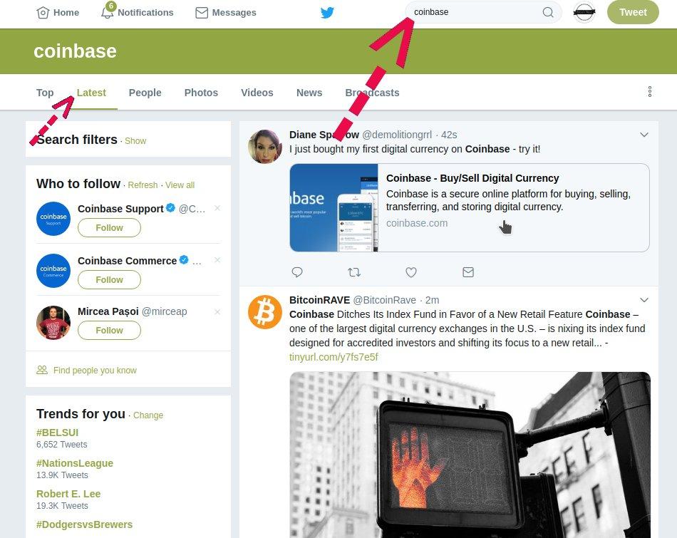 Coinbase Twitter Suche