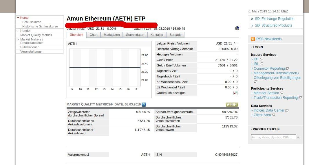 Ethereum an der Schweizer Börse kaufen: Amun Ethereum (AETH) ETP