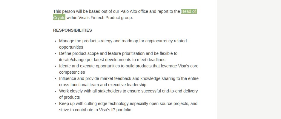 This person will be based out of our Palo Alto office and report to the Head of Crypto within Visa's Fintech Product group.