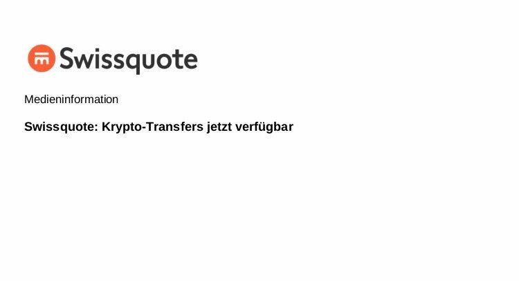 Seit Ende März 2019 ist es möglich, seine Kryptowährungen von externen Wallets zumSwissquote-Konto und umgekehrt zu transferieren. Damit bietet Swissquote eine voll integrierte Handelsplattform und Depotstelle für Kryptowährungen.