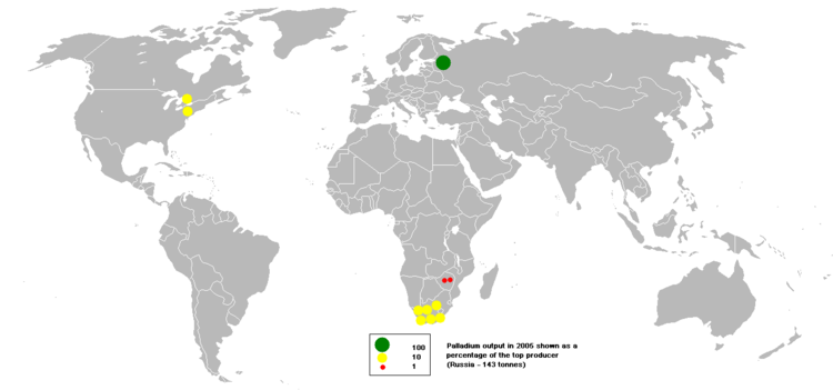 Metallisches Palladium und palladiumhaltige Legierungen finden sich hauptsächlich in Flusssedimenten als geologische Seifen im Ural, Australien, Äthiopien und in Nord- und Südamerika. Sie sind aber seit Jahrzehnten weitestgehend ausgebeutet.