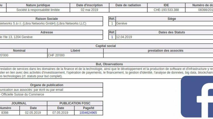 Handelsregister Genf: Facebook gründet die Libra Networks GmbH mit dem Ziel der Software-Entwicklung für die Finanzbranche.