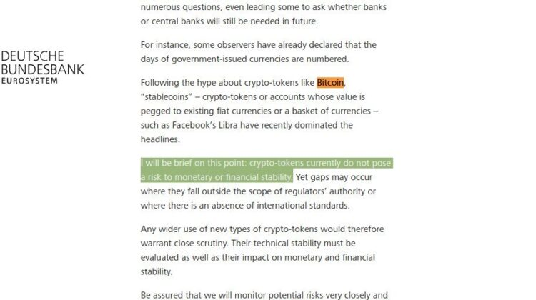 Deutsche Bundesbank: Bitcoin ist keine Gefahr für das Finanzsystem.