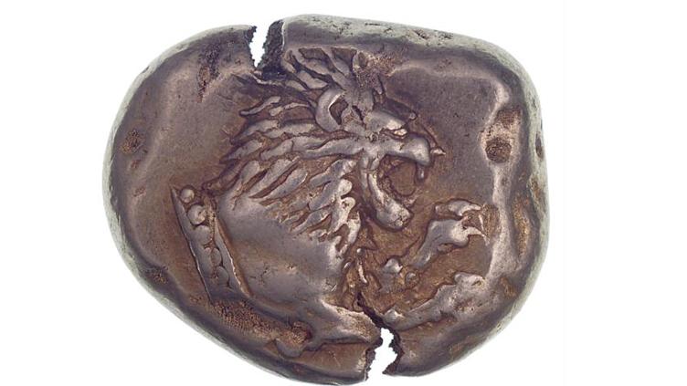 Vorderseite einer lydischen Münze aus dem 6. Jahrhundert vor Christus. (Bild: Geldmuseum der Deutschen Bundesbank)