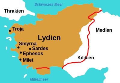 Der Rand des braunen Gebiet ist die Grenze von Lydien in der Mitte des 6. Jahrhunderts v. Chr.. Die rote Grenzlinie zeigt eine leicht geänderte Fassung des Grenzverlaufs.