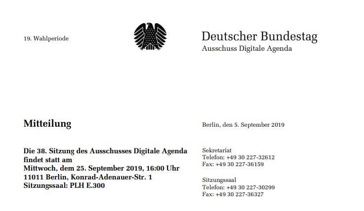 Deutscher Bundestag zum Thema Digitale Währungen