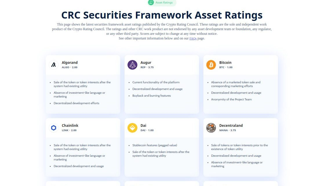 CRC Securities Framework Asset Ratings