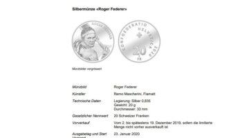 Seltene Ehre für Roger Federer. Der Schweizer Ausnahmesportler bekommt von Swissmint eine Gedenkmünze – als Erster noch zu Lebzeiten.